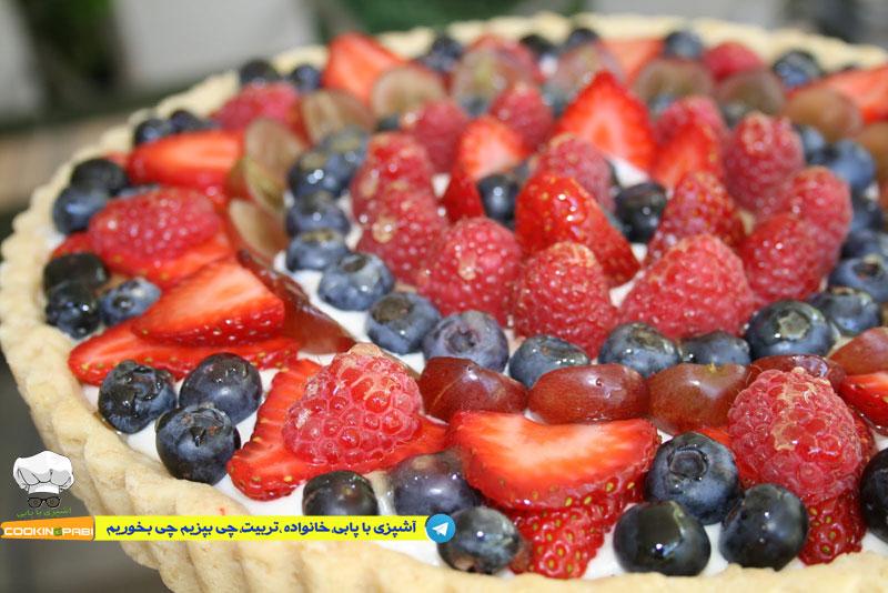 64--cookingpabi--آشپزی-با-پابی--Cookies-and-cream-tart-fruit-1-تارت-بیسکویت-وخامه